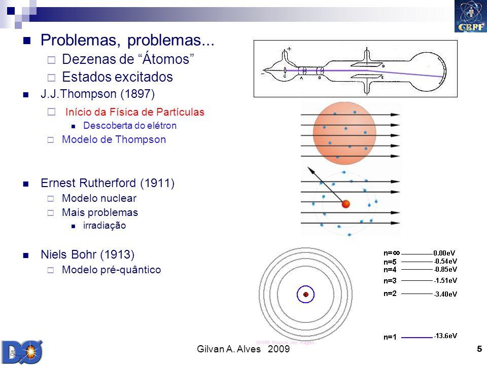 Gilvan A. Alves 2009 5 Problemas, problemas... Dezenas de Átomos Estados excitados J.J.Thompson (1897) Início da Física de Partículas Descoberta do el