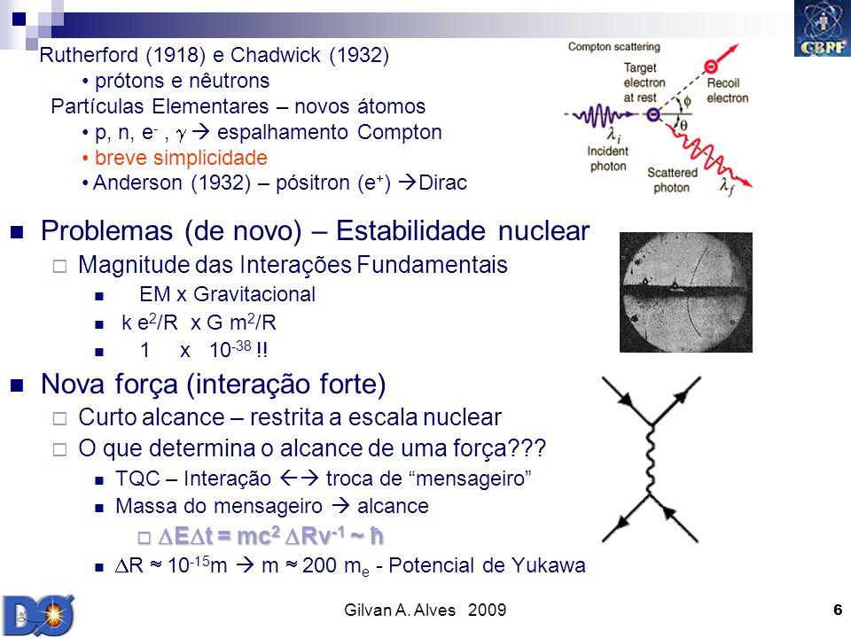 Gilvan A. Alves 2009 6 Problemas (de novo) – Estabilidade nuclear Magnitude das Interações Fundamentais EM x Gravitacional k e 2 /R x G m 2 /R 1 x 10