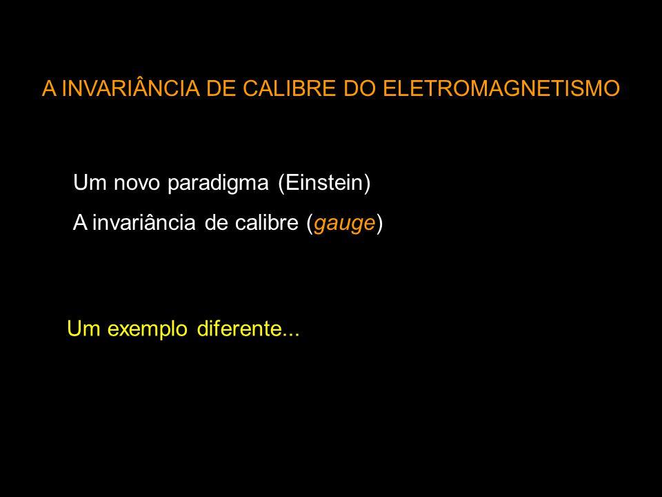 A INVARIÂNCIA DE CALIBRE DO ELETROMAGNETISMO Um novo paradigma (Einstein) A invariância de calibre (gauge) Um exemplo diferente...