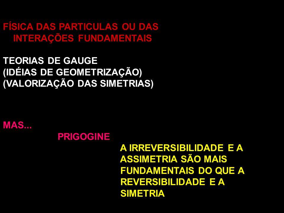 FÍSICA DAS PARTICULAS OU DAS INTERAÇÕES FUNDAMENTAIS TEORIAS DE GAUGE (IDÉIAS DE GEOMETRIZAÇÃO) (VALORIZAÇÃO DAS SIMETRIAS) MAS... PRIGOGINE A IRREVER