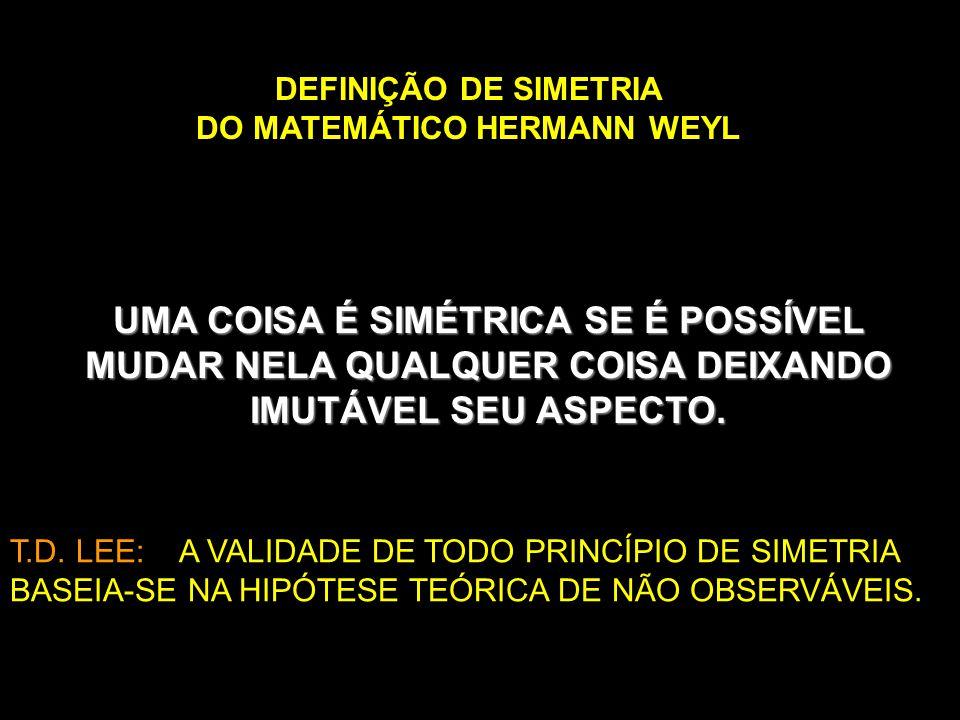 UMA COISA É SIMÉTRICA SE É POSSÍVEL MUDAR NELA QUALQUER COISA DEIXANDO IMUTÁVEL SEU ASPECTO. DEFINIÇÃO DE SIMETRIA DO MATEMÁTICO HERMANN WEYL T.D. LEE