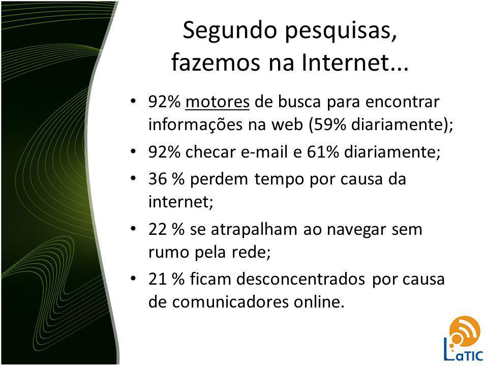 Segundo pesquisas, fazemos na Internet... 92% motores de busca para encontrar informações na web (59% diariamente); 92% checar e-mail e 61% diariament