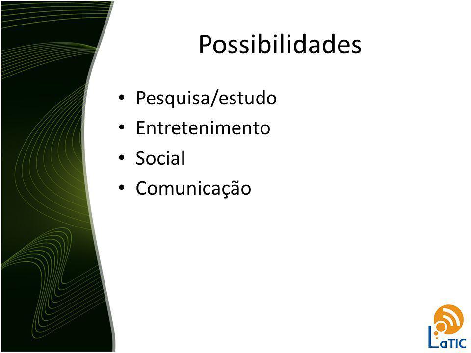 Possibilidades Pesquisa/estudo Entretenimento Social Comunicação