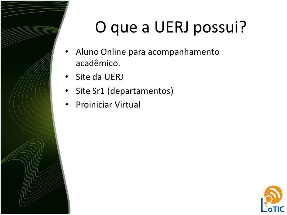 Aluno Online para acompanhamento acadêmico. Site da UERJ Site Sr1 (departamentos) Proiniciar Virtual O que a UERJ possui?