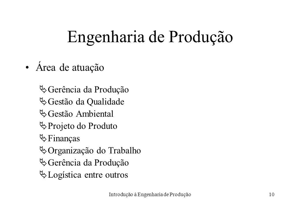 Introdução à Engenharia de Produção10 Engenharia de Produção Área de atuação Gerência da Produção Gestão da Qualidade Gestão Ambiental Projeto do Prod