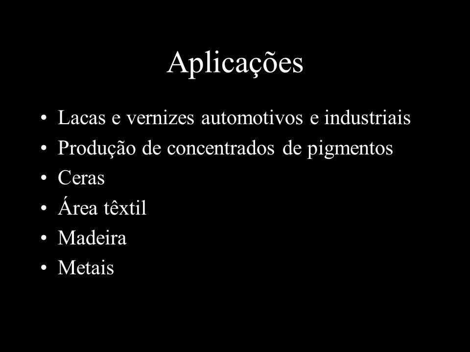 Aplicações Lacas e vernizes automotivos e industriais Produção de concentrados de pigmentos Ceras Área têxtil Madeira Metais