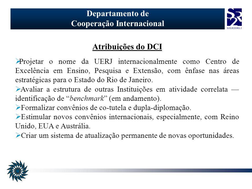 Departamento de Cooperação Internacional Atribuições do DCI Projetar o nome da UERJ internacionalmente como Centro de Excelência em Ensino, Pesquisa e Extensão, com ênfase nas áreas estratégicas para o Estado do Rio de Janeiro.