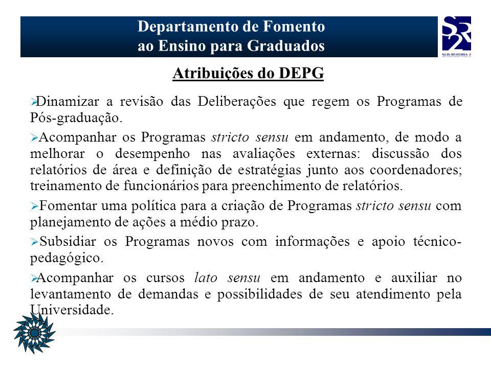 Departamento de Fomento ao Ensino para Graduados Atribuições do DEPG Dinamizar a revisão das Deliberações que regem os Programas de Pós-graduação.