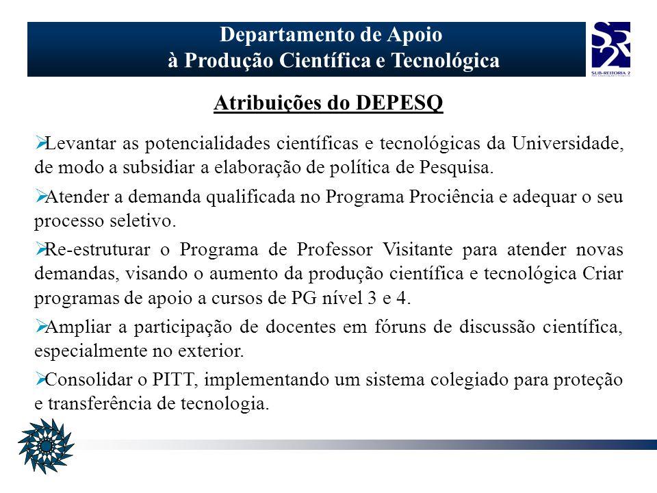 Departamento de Apoio à Produção Científica e Tecnológica Atribuições do DEPESQ Levantar as potencialidades científicas e tecnológicas da Universidade, de modo a subsidiar a elaboração de política de Pesquisa.