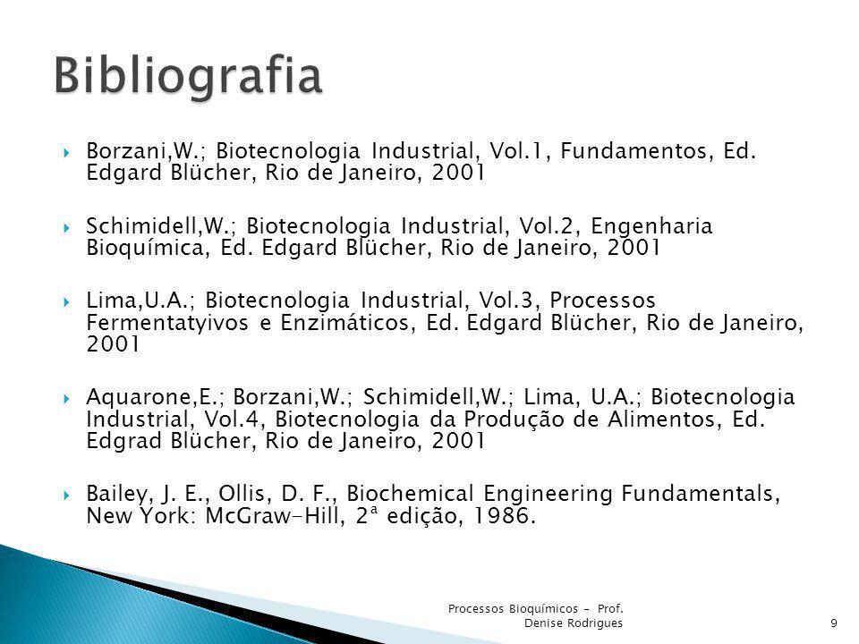 Borzani,W.; Biotecnologia Industrial, Vol.1, Fundamentos, Ed. Edgard Blücher, Rio de Janeiro, 2001 Schimidell,W.; Biotecnologia Industrial, Vol.2, Eng