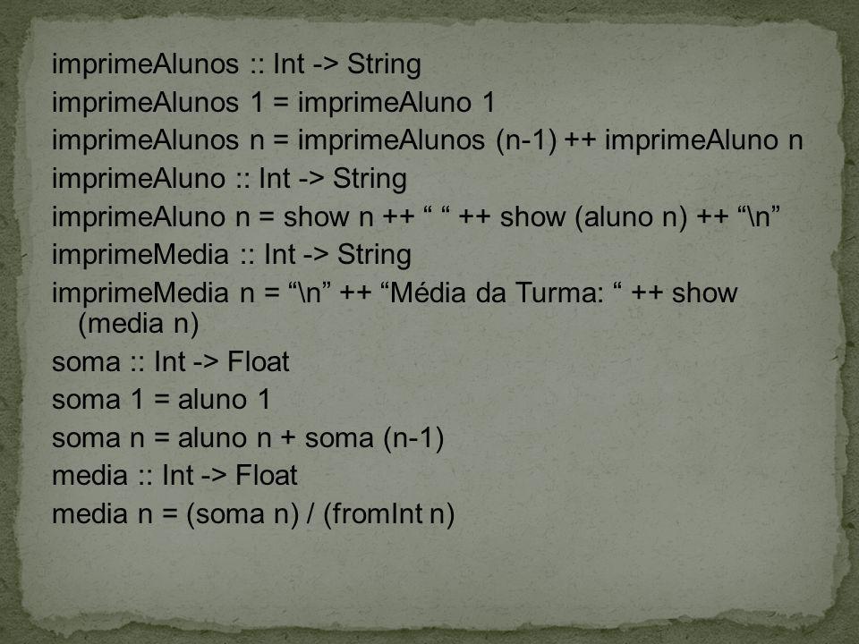 imprimeAlunos :: Int -> String imprimeAlunos 1 = imprimeAluno 1 imprimeAlunos n = imprimeAlunos (n-1) ++ imprimeAluno n imprimeAluno :: Int -> String