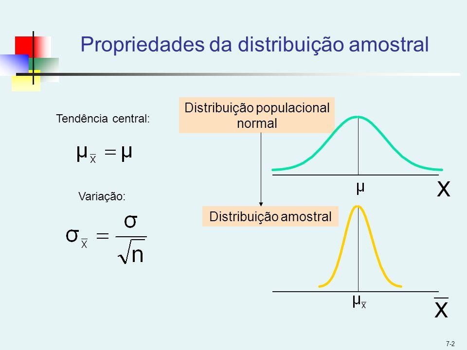 7-2 Distribuição populacional normal Distribuição amostral Propriedades da distribuição amostral Tendência central: Variação: