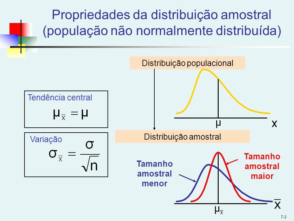 7-3 Distribuição populacional Distribuição amostral Tendência central Variação Tamanho amostral maior Tamanho amostral menor Propriedades da distribui