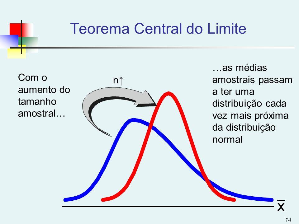 7-4 n Teorema Central do Limite Com o aumento do tamanho amostral… …as médias amostrais passam a ter uma distribuição cada vez mais próxima da distrib
