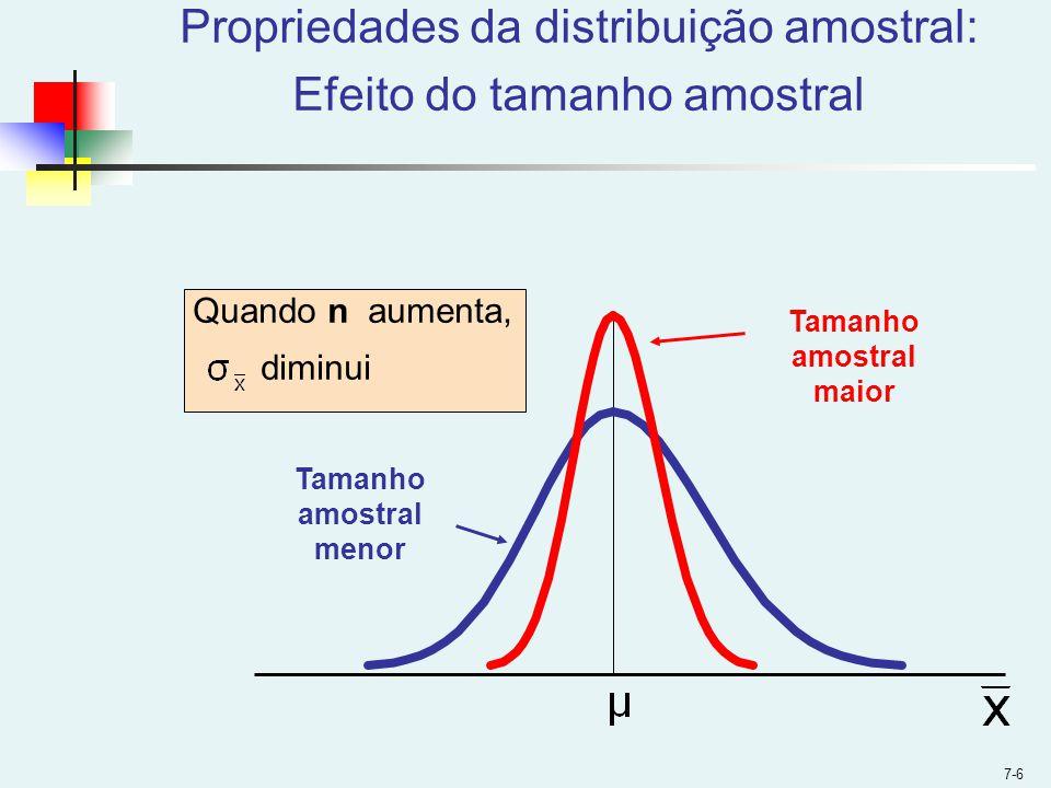 7-6 Propriedades da distribuição amostral: Efeito do tamanho amostral Quando n aumenta, diminui Tamanho amostral maior Tamanho amostral menor