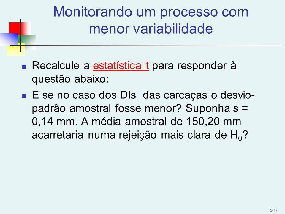 Monitorando um processo com menor variabilidade Recalcule a estatística t para responder à questão abaixo:estatística t E se no caso dos DIs das carca