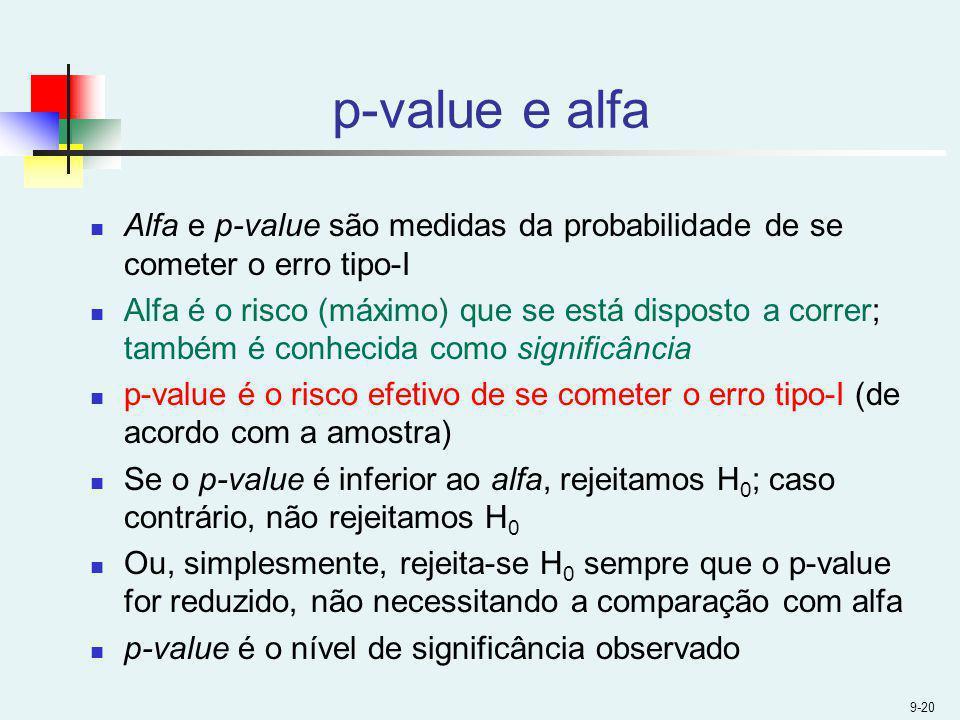 9-20 p-value e alfa Alfa e p-value são medidas da probabilidade de se cometer o erro tipo-I Alfa é o risco (máximo) que se está disposto a correr; tam