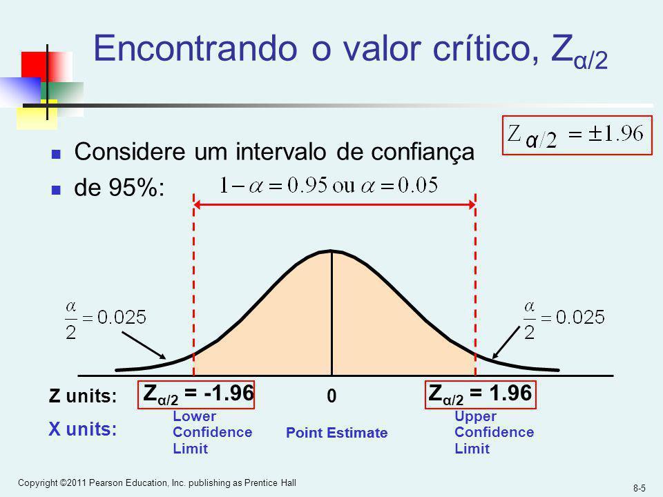 8-5 Copyright ©2011 Pearson Education, Inc. publishing as Prentice Hall Encontrando o valor crítico, Z α/2 Considere um intervalo de confiança de 95%: