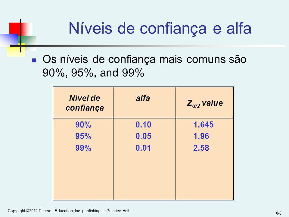 8-6 Copyright ©2011 Pearson Education, Inc. publishing as Prentice Hall Níveis de confiança e alfa Os níveis de confiança mais comuns são 90%, 95%, an