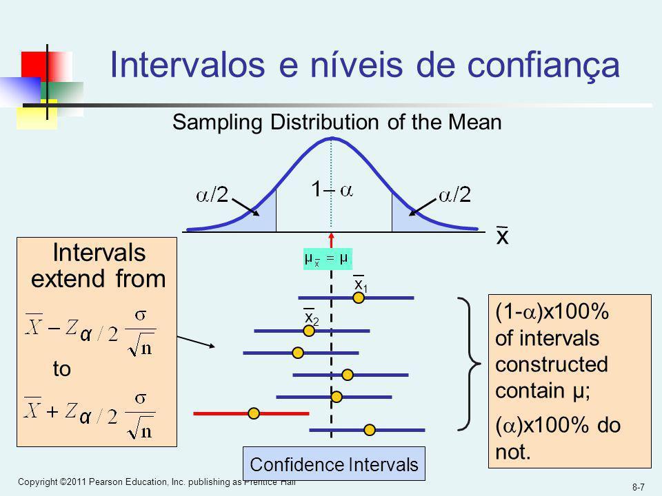 8-7 Copyright ©2011 Pearson Education, Inc. publishing as Prentice Hall Intervalos e níveis de confiança Confidence Intervals Intervals extend from to