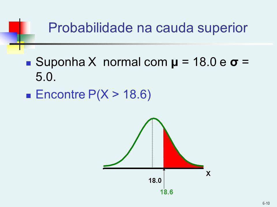 6-10 Probabilidade na cauda superior Suponha X normal com μ = 18.0 e σ = 5.0.