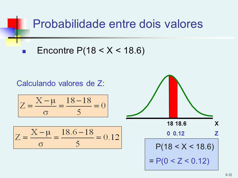 6-12 Probabilidade entre dois valores Encontre P(18 < X < 18.6) P(18 < X < 18.6) = P(0 < Z < 0.12) Z0.12 0 X18.6 18 Calculando valores de Z: