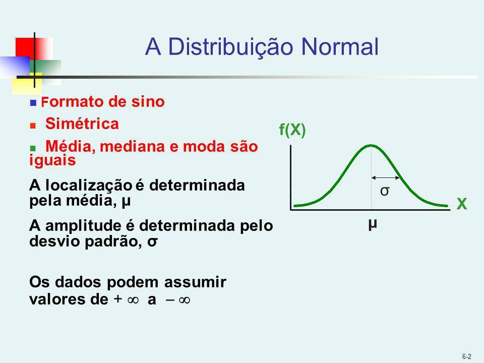 6-2 A Distribuição Normal F ormato de sino Simétrica Média, mediana e moda são iguais A localização é determinada pela média, μ A amplitude é determinada pelo desvio padrão, σ Os dados podem assumir valores de + a X f(X) μ σ