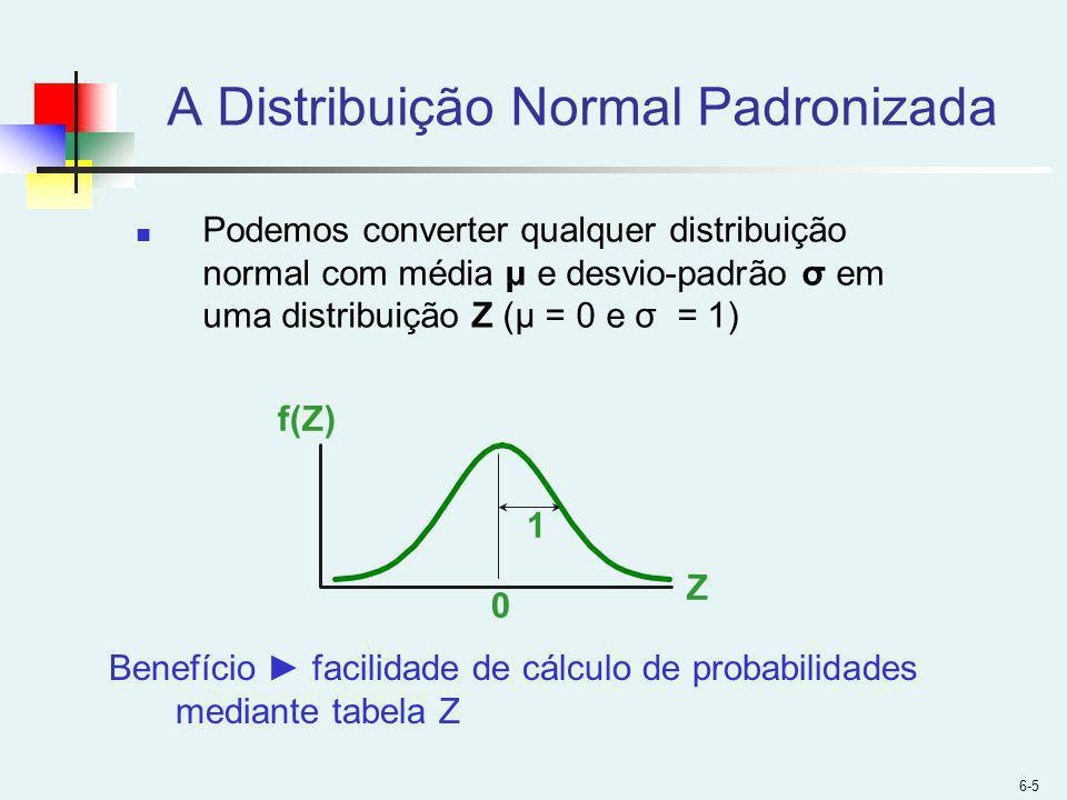 6-5 A Distribuição Normal Padronizada Podemos converter qualquer distribuição normal com média μ e desvio-padrão σ em uma distribuição Z (μ = 0 e σ = 1) Z f(Z) 0 1 Benefício facilidade de cálculo de probabilidades mediante tabela Z