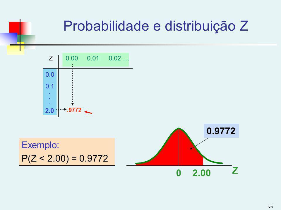 6-7 Probabilidade e distribuição Z Z 02.00 0.9772 Exemplo: P(Z < 2.00) = 0.9772