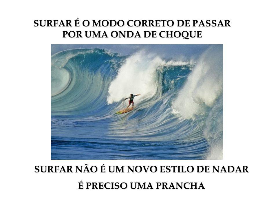 SURFAR É O MODO CORRETO DE PASSAR POR UMA ONDA DE CHOQUE SURFAR NÃO É UM NOVO ESTILO DE NADAR É PRECISO UMA PRANCHA