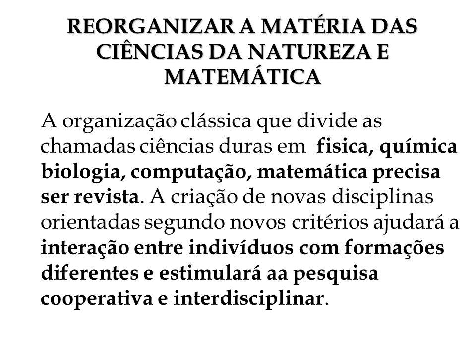 REORGANIZAR A MATÉRIA DAS CIÊNCIAS DA NATUREZA E MATEMÁTICA A organização clássica que divide as chamadas ciências duras em fisica, química biologia,