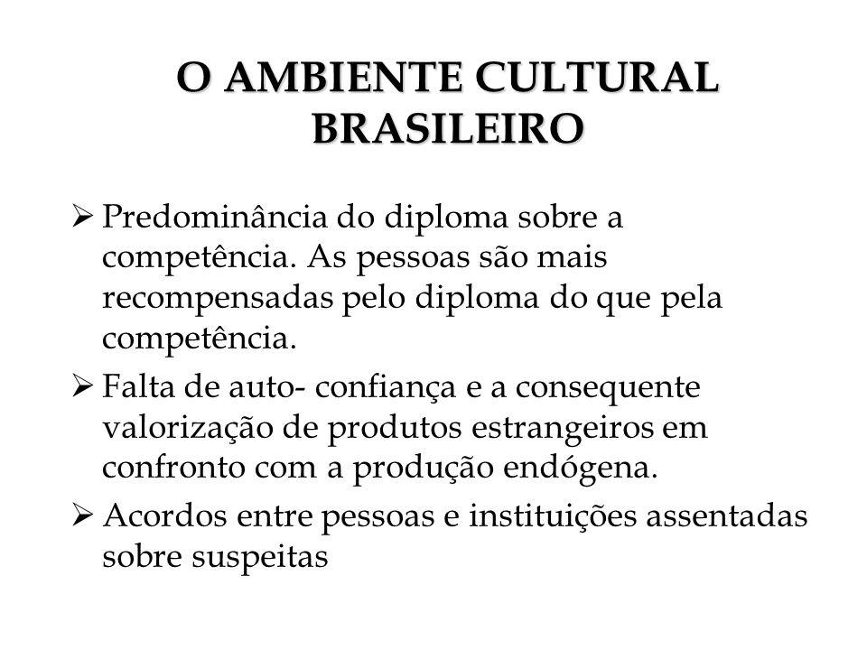 O AMBIENTE CULTURAL BRASILEIRO Predominância do diploma sobre a competência. As pessoas são mais recompensadas pelo diploma do que pela competência. F