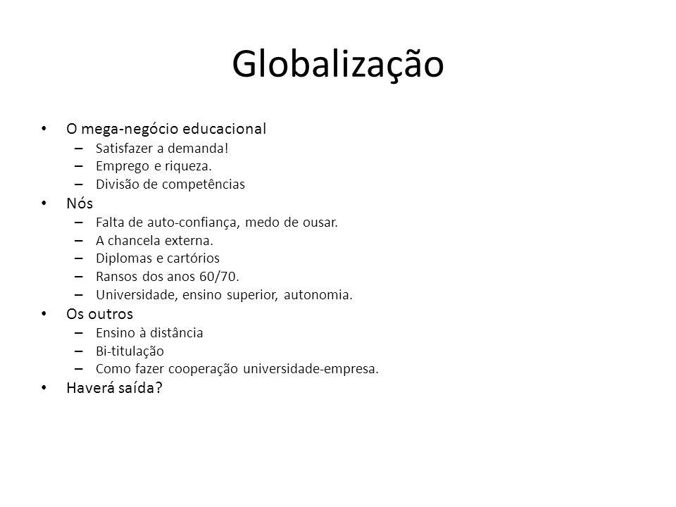 Globalização O mega-negócio educacional – Satisfazer a demanda! – Emprego e riqueza. – Divisão de competências Nós – Falta de auto-confiança, medo de