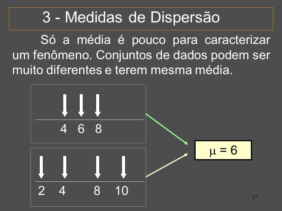 17 3 - Medidas de Dispersão Só a média é pouco para caracterizar um fenômeno.