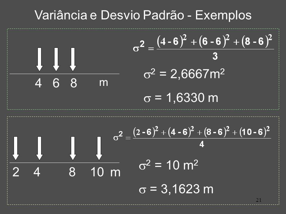 21 Variância e Desvio Padrão - Exemplos 2 = 2,6667m 2 = 1,6330 m 4 6 8 m 2 = 10 m 2 = 3,1623 m 2 4 8 10m