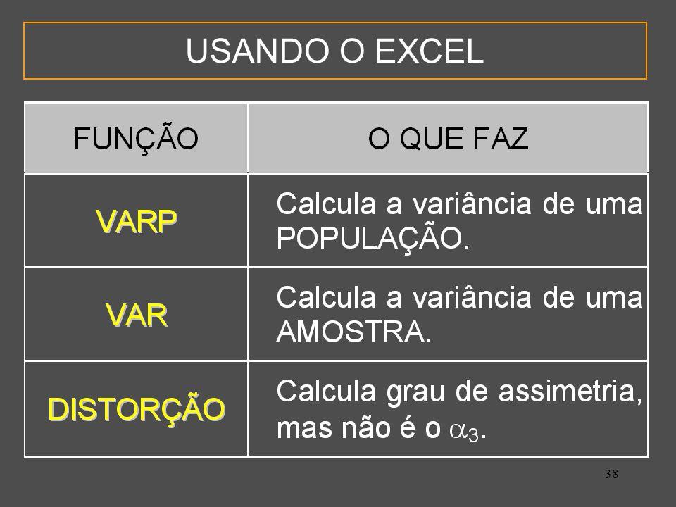 38 USANDO O EXCEL