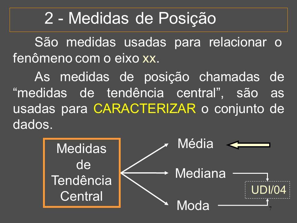 7 2 - Medidas de Posição São medidas usadas para relacionar o fenômeno com o eixo xx.