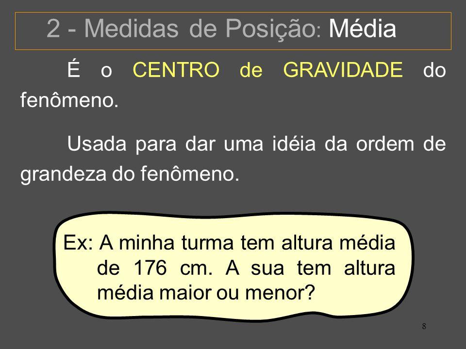 8 2 - Medidas de Posição : Média É o CENTRO de GRAVIDADE do fenômeno.