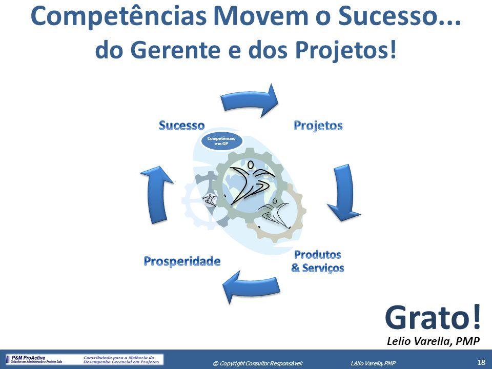 X Seminário de Gerenciamento de Projetos 18 © Copyright Consultor Responsável:Lélio Varella, PMP Grato! Lelio Varella, PMP Competências Movem o Sucess