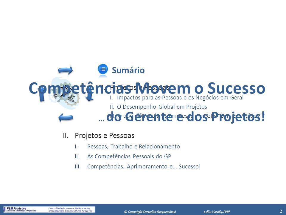 X Seminário de Gerenciamento de Projetos 2 © Copyright Consultor Responsável:Lélio Varella, PMP Sumário I.Projetos e Pessoas I. Impactos para as Pesso