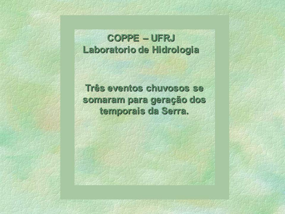 COPPE – UFRJ Laboratorio de Hidrologia Três eventos chuvosos se somaram para geração dos temporais da Serra.