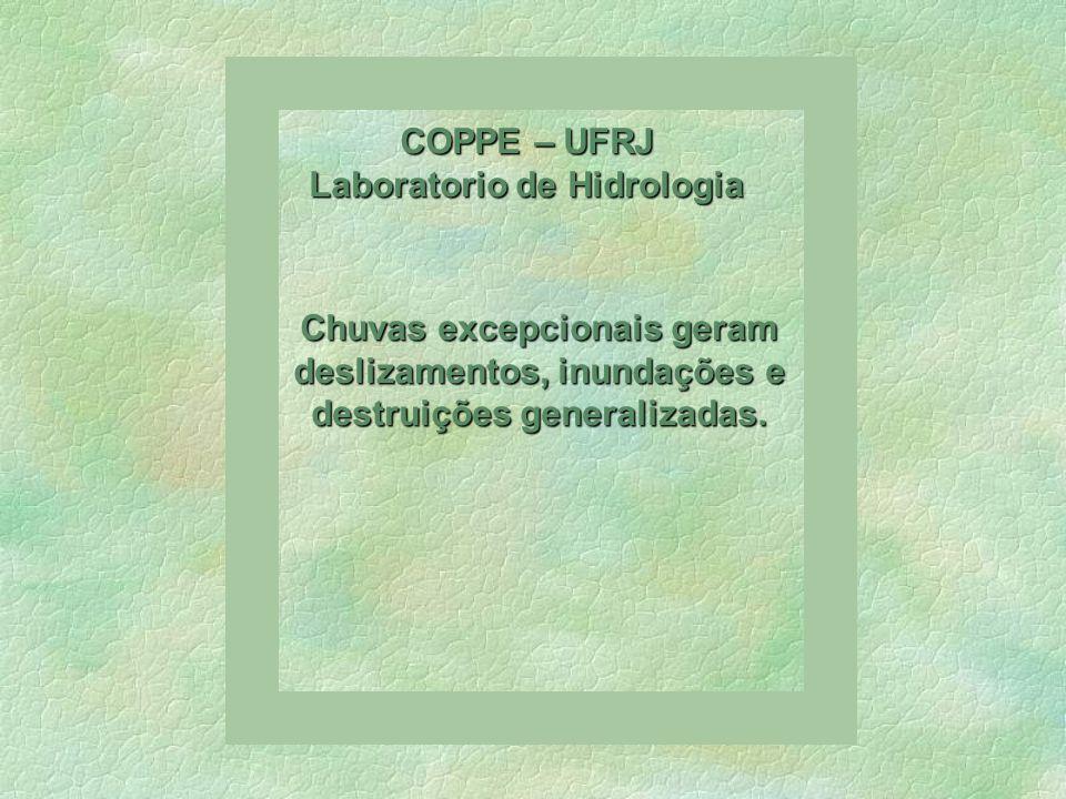 COPPE – UFRJ Laboratorio de Hidrologia Mesmo áreas pouco habitadas sofreram erosões que obstruíram os talvegues e desviaram os cursos dágua para fora de seus leitos naturais.