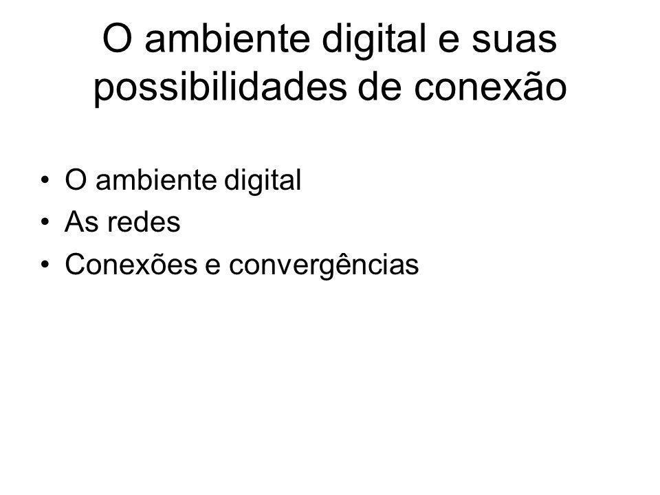 O ambiente digital e suas possibilidades de conexão O ambiente digital As redes Conexões e convergências