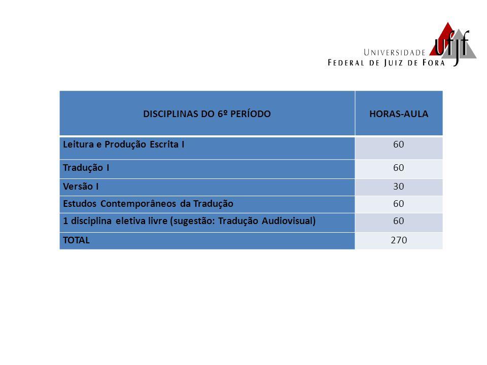 DISCIPLINAS DO 6º PERÍODO HORAS-AULA Leitura e Produção Escrita I60 Tradução I60 Versão I30 Estudos Contemporâneos da Tradução60 1 disciplina eletiva