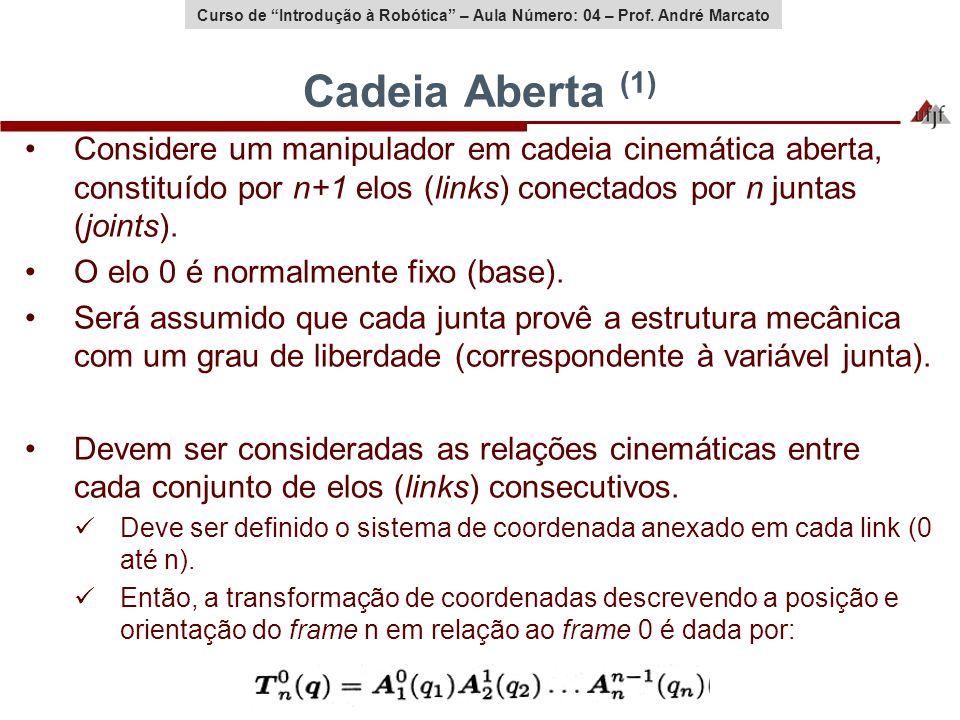 Curso de Introdução à Robótica – Aula Número: 04 – Prof. André Marcato Cadeia Aberta (1) Considere um manipulador em cadeia cinemática aberta, constit