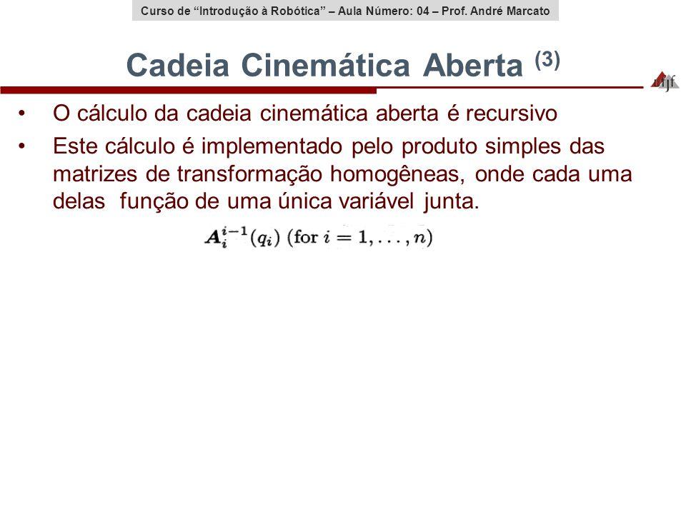 Curso de Introdução à Robótica – Aula Número: 04 – Prof. André Marcato Cadeia Cinemática Aberta (3) O cálculo da cadeia cinemática aberta é recursivo