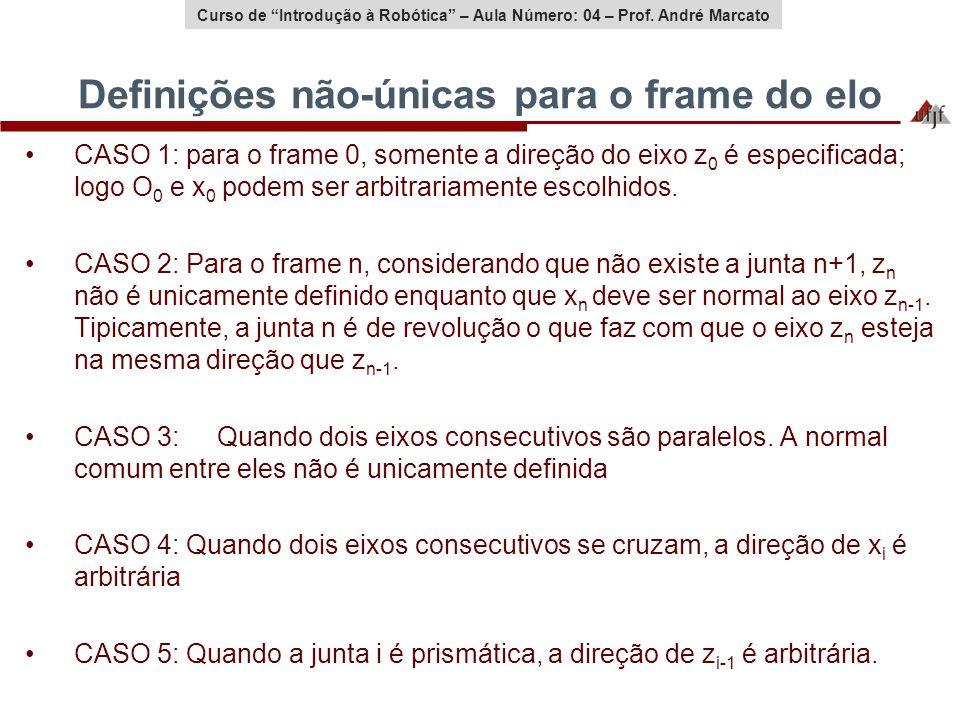 Curso de Introdução à Robótica – Aula Número: 04 – Prof. André Marcato Definições não-únicas para o frame do elo CASO 1: para o frame 0, somente a dir