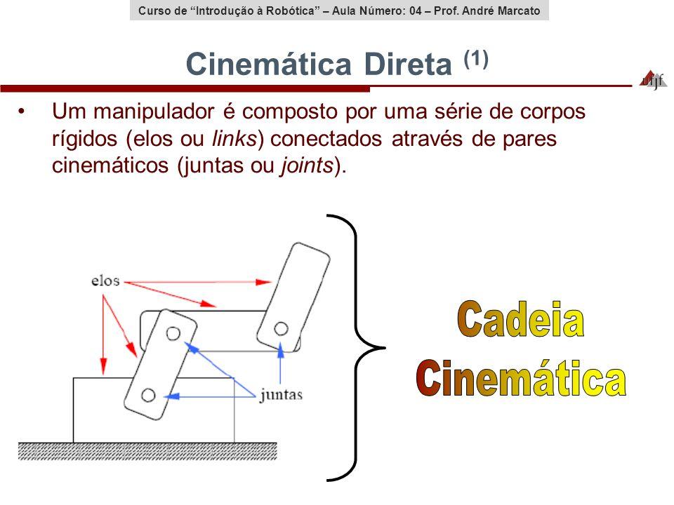 Curso de Introdução à Robótica – Aula Número: 04 – Prof. André Marcato Cinemática Direta (1) Um manipulador é composto por uma série de corpos rígidos