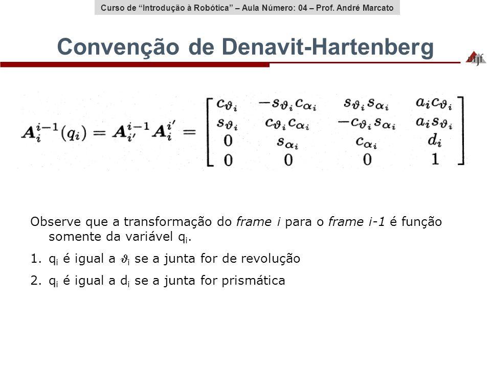 Curso de Introdução à Robótica – Aula Número: 04 – Prof. André Marcato Convenção de Denavit-Hartenberg Observe que a transformação do frame i para o f