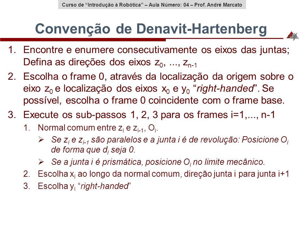Curso de Introdução à Robótica – Aula Número: 04 – Prof. André Marcato Convenção de Denavit-Hartenberg 1.Encontre e enumere consecutivamente os eixos